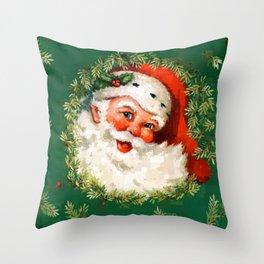 Jolly Ole Santa Pixel Throw Pillow