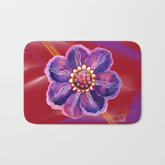 Purple Flower on Red Bath Mat