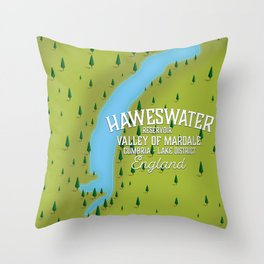 Haweswater, lake district England travel poster Throw Pillow