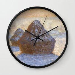 1891-Claude Monet-Haystacks, Snow Effect-65 x 92 Wall Clock