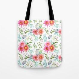 Modern pink orange teal elegant hand painted floral Tote Bag