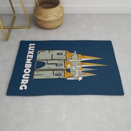 Luxembourg retro travel poster. Rug