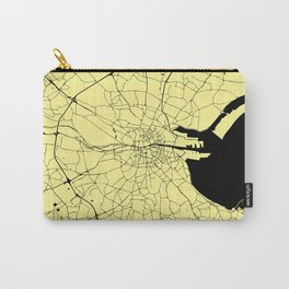 Yellow on Black Dublin Street Map Carry-All Pouch