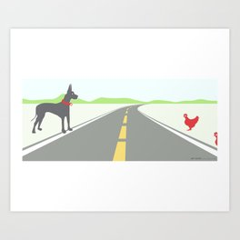 Chicken crossing Art Print