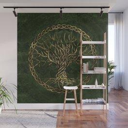 Tree of life -Yggdrasil -green and gold Wall Mural