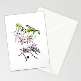 A Flower & Mechanical Wasp Stationery Cards