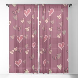 Abstract heart pattern Sheer Curtain