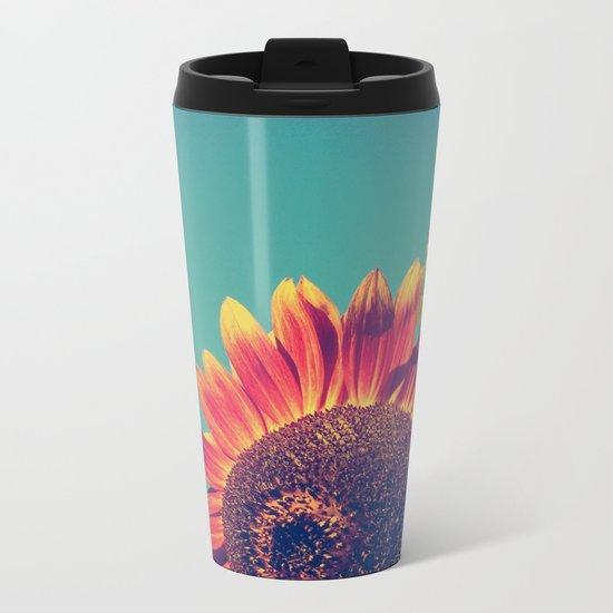 Summer Sunflower Metal Travel Mug