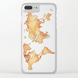 Brown World Map Clear iPhone Case