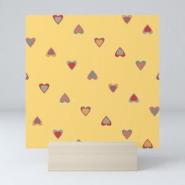 Scattered Colourful Summer Love hearts Mini Art Print