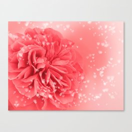 A Touch of Love - Pink Rose with Hearts #1 #art #society6 Canvas Print