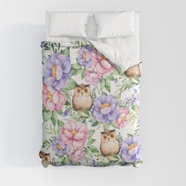 Watercolor hand painted pink lavender brown floral cute owl pattern Comforters