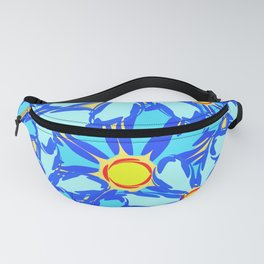 Abstract daisies. Background of blue and white flowers. Fanny Pack
