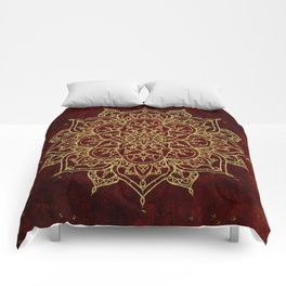 Deep Red & Gold Mandala Comforters
