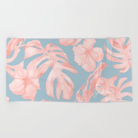 Island Life Millennial Pink on Pale Teal Blue Beach Towel