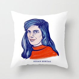 Portrait of the Writer, Philosopher and Political Activist Susan Sontag Throw Pillow