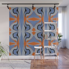 Blue Squeeze With Orange Diamonds Wall Mural