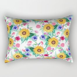 Sunflower, anemone, dahlia, rose and beauty berry watercolor floral Rectangular Pillow