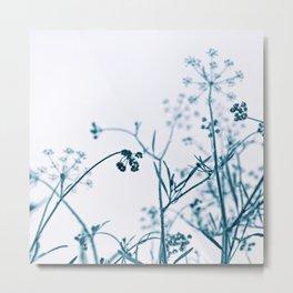 Blue Elegant Floral Vegetation Abstract Metal Print
