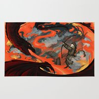 smaug Area & Throw Rugs featuring Fire and Water - Bard vs Smaug by BlacksSideshow