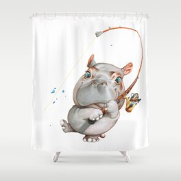 A hippopotamus fishing Shower Curtain