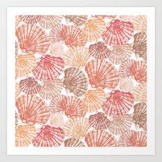 Mid Shells: Pink corals Art Print
