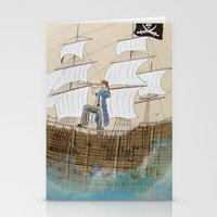 pirate Stationery Cards featuring Pirate by Polina Kovaleva