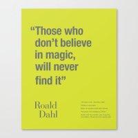 roald dahl Canvas Prints featuring Roald by Dark Cell Artwork