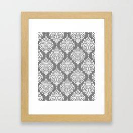 Grey Damask Framed Art Print