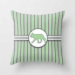 Wolf on Green Stripes Pattern Design Throw Pillow