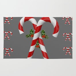 RED-WHITE  CHRISTMAS CANDY CANES HOLLY BERRIES Rug