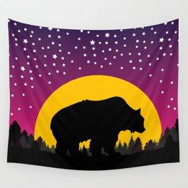 Bear Stars Moon Wall Tapestry