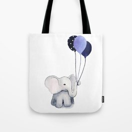 Elephant with Balloons Tote Bag
