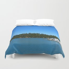 Houseboats On Lake Shasta Duvet Cover