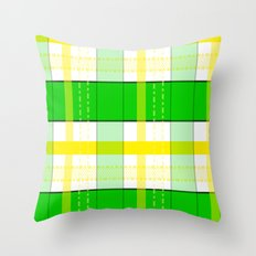 Yellow and Green Plaid Throw Pillow