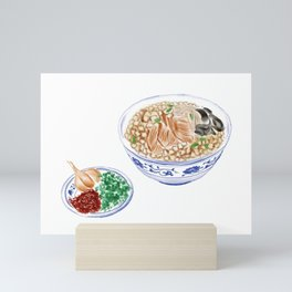 Watercolor Illustration of Chinese Cuisine - Shaanxi Pita Bread Soaked in Mutton Soup   陕西羊肉泡馍 Mini Art Print