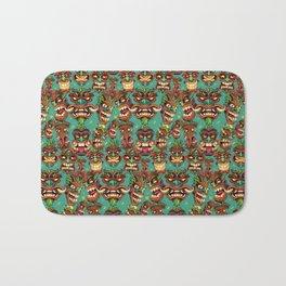 Tiki Head Pattern Bath Mat