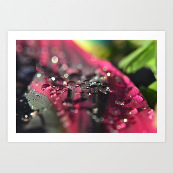 row of water drops Art Print