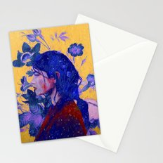 mysterious woman in flowers Stationery Cards