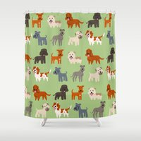 irish Shower Curtains featuring IRISH DOGS by DoggieDrawings