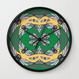 Vintage Art Deco Deep Green and Peach Boho Mandala Print Wall Clock
