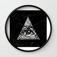 illuminati Wall Clocks featuring Illuminati by Jenny Joleen