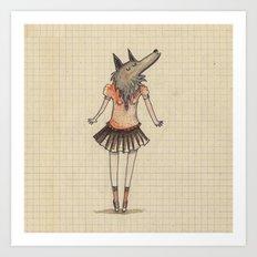 Woman Wolf at school Art Print