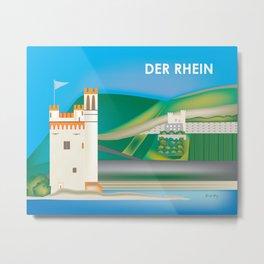 Der Rhein, Germany - Skyline Illustration by Loose Petals Metal Print