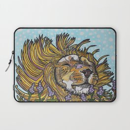 Lion in Lavender Painting Laptop Sleeve