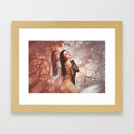 Beautiful asian girl with beauty face digital painting Framed Art Print