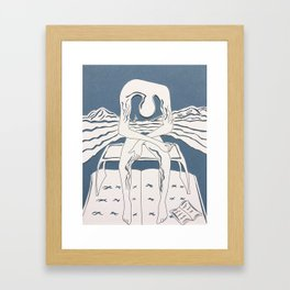 fan art: melancholy with dropped book on book raft (paper cut) Framed Art Print
