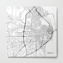 Mobile Map, USA - Black and White Metal Print