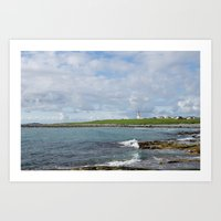Norway coast with lighthouse and blue sky Art Print