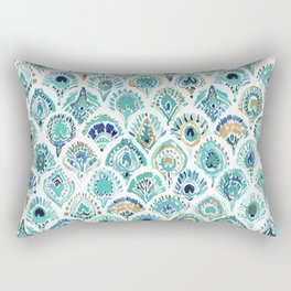 PEACOCK MERMAID Nautical Scales and Feathers Rectangular Pillow